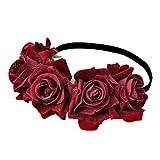 Lurrose Diadema de Rosa Tocado de Boda Tocado de Flores Accesorios de Foto Cabello Floral para Vacaciones de Boda Vacaciones Fiesta en La Playa Rojo Oscuro