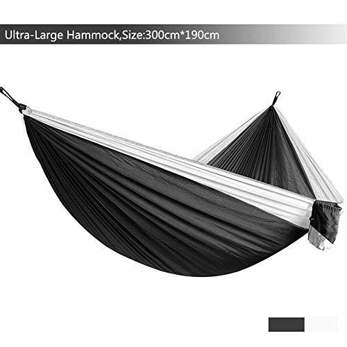 GZSC Hamac Ultra-Grand Léger Parachute Hamac Camping Survie Jardin Chasse Loisirs Voyage Double Personne (Color : Black White)