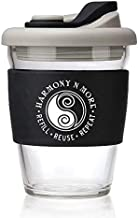 Reusable Glass Coffee – Tea Mug 12 Oz Travel Cup with Spill Proof Lid and Non-Slip..