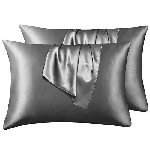 Hansleep Funda Almohada 50x75cm de Satén Gris Oscuro, Sedoso estándar para 4 Piezas, con Cierre de sobre, Muy Liso Suave de 100% Microfibra, Belleza Facial, Cuidado de la Cara, hipoalergénico