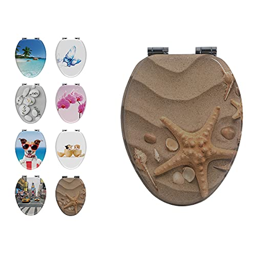 Elongated Toilet Seat, Slow Close and Strong Hinges, Printing Toilet Seat, MDF with CARB Certificate.(EL Starfish)