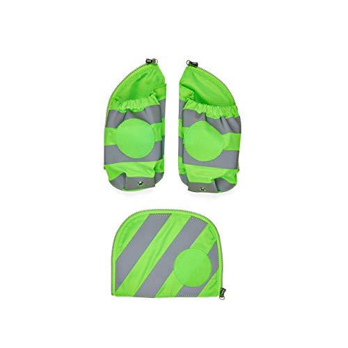 ergobag Seitentaschen Zip-Set mit Reflektorstreifen - Sicherheits-Set, pack, Set 3-teilig - Grün - Grün