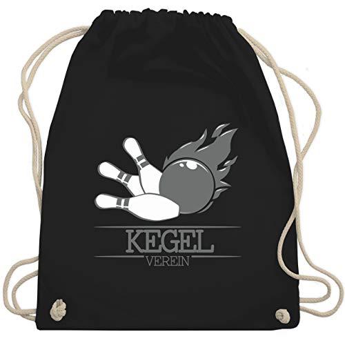 Shirtracer Bowling & Kegeln - Kegel Verein Kugel Flamme - Unisize - Schwarz - verein kugel flamme - WM110 - Turnbeutel und Stoffbeutel aus Baumwolle