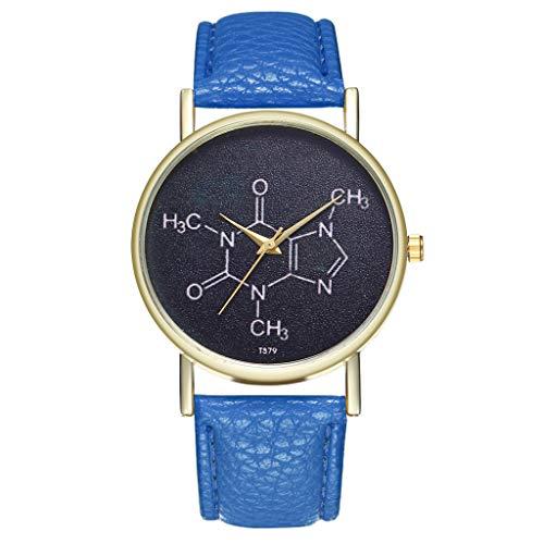Damen Jugendliche Mädchen Wasserdicht Echtleder Designer Uhren Frauen Leuchtend Blau 3356