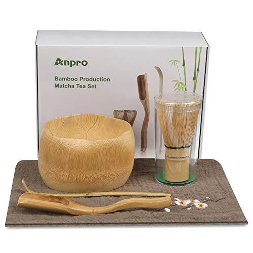 Anpro Bamboo Matcha Tea Whisk Set, Bamboo Whisk Holder Handmade Matcha Ceremony Starter Kit For Traditional Japanese Tea Ceremony