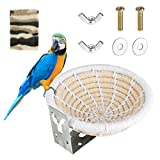 Nidos para Pájaros, Cama de Casa de Pájaro para Loros Pequeños, Nido de Cuerda de Algodón Hecha a Mano, Cama de Nido de Cría de Aves para Periquito(Blanco)