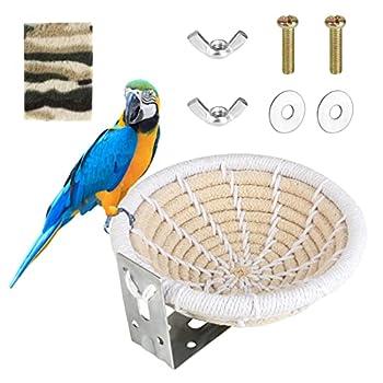 Heilok Nid d'Oiseau pour Cages Nid d'Élevage de Perruche Nid d'Oiseau en Corde de Coton Fait à la Main Lit de Nid d'Oiseau avec Coussin Moelleux et Vis de Fixation pour Perruche Perroquet Pinson