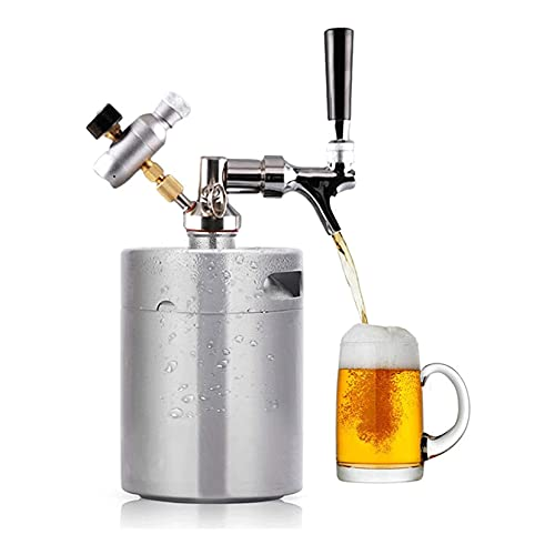 LIXIAOLIANSD Dispensador de Bebidas 3.6L Dispensador de Barril de Cerveza, Sistema de Cerveza de Cerveza con Kit de Grifo Ajustable, Mini Cola Cerveza de Acero Inoxidable Keg