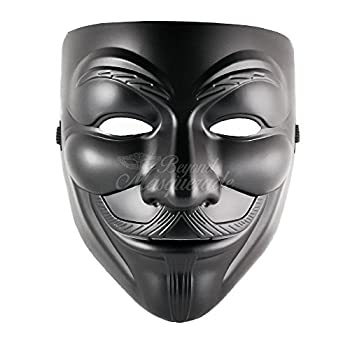 V for Vendetta Anonymous Guy Fawkes Halloween Masquerade Mask Black