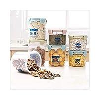 ACAO 丸い密封された缶、プラスチック製の食品保管缶、穀物保管箱、バックル透明ミルクパウダーボックス、3個に重ねることができます。(Color:グリーンS)