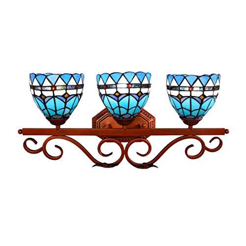 Araña Tres faros estilo de Tiffany británica Espejo luz del gabinete de cristal del color Espejo de baño Corredor ligero de la pared dormitorio Restaurante Hotel Bar Restaurante Espejo de baño Faro co