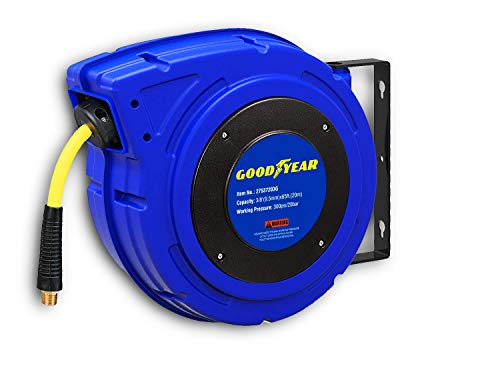 Goodyear Air Hose Reel Retractable 3/8' Inch x 65' Feet Premium Commercial Flex Hybrid Polymer Hose Max 300 Psi Heavy Duty Spring Driven Polypropylene Construction w/Lead-in Hose and PVC Handle