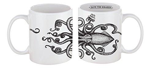 VOODOO ISLAND Tasse mug Petit-déjeuner de Porcelaine Blanche 30 cl. Style Vintage Modèle Kraken
