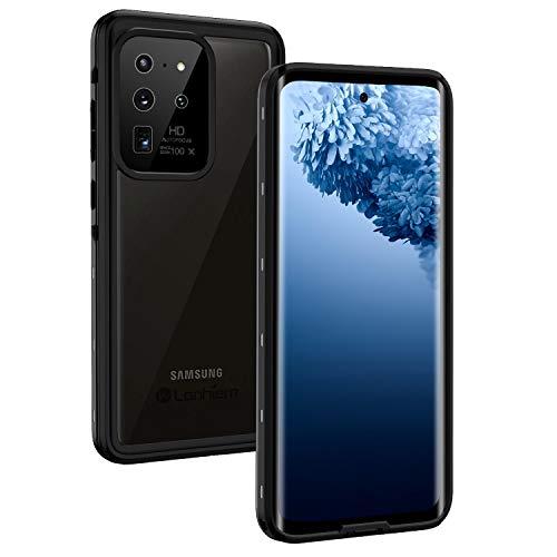 Lanhiem Funda Impermeable Samsung S20 Ultra 5G Compatible con Sensor de Huellas Carcasa Resistente Al Agua IP68 Certificado [Protección de 360 Grados], Carcasa para Samsung Galaxy S20 Ultra,Negro