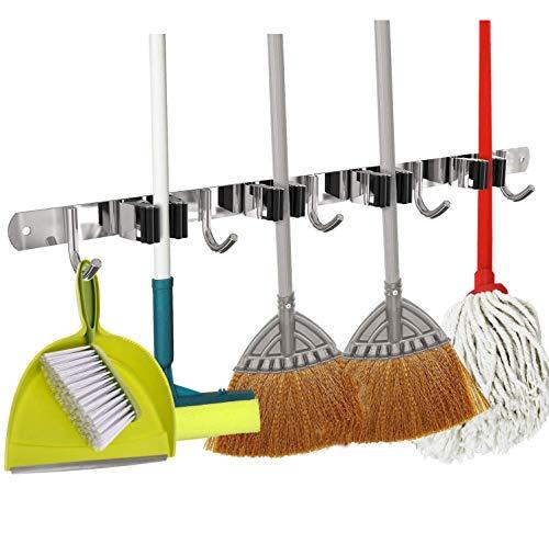 Besenhalterung Wand, Edelstahl Gerätehalter Besenhalter mit 4 Schnellspannern 5 Haken, Mop Halter für Zuhause, Küche, Badezimmer, Garage, Garten