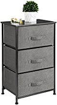 mDesign Storage Dresser End/Side Table Night Stand Furniture Unit - Small Standing Organizer for Bedroom, Office, Living Room, and Closet - 3 Drawer Removable Fabric Bins - Charcoal Gray/Black