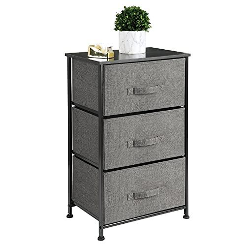 mDesign Cómoda de tela – Práctico organizador de armarios con 3 cajones – Sistema de almacenamiento para el dormitorio, el apartamento o habitaciones pequeñas – antracita