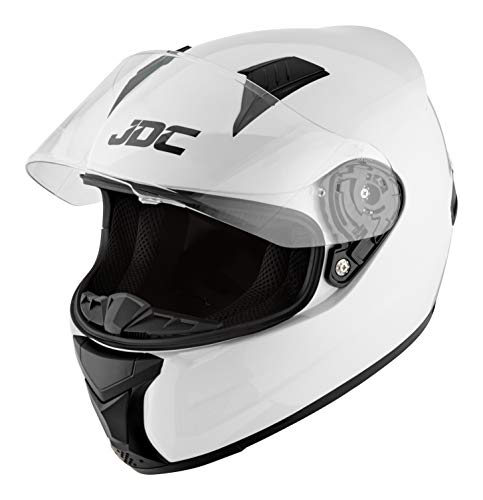 JDC volles Gesicht Motorrad Helm - PRISM - Weiß - XL