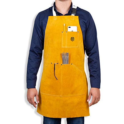 Heavy Duty Leather Welding Apron For Men -Cowhide workman's apron 6 Pockets - Fire Resistant Work Apron - Leather Apron For Welders - Blacksmith Apron