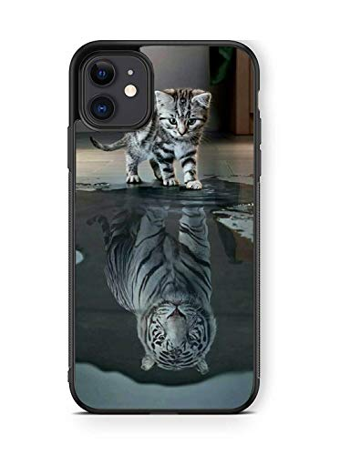 XUNBOTINGS for iPhone 12/12 pro Case - Cat &Tiger Desgin-Soft TPU+Luxury Tempered Mirror Protective iPhone Case (for iPhone 12/12 pro)