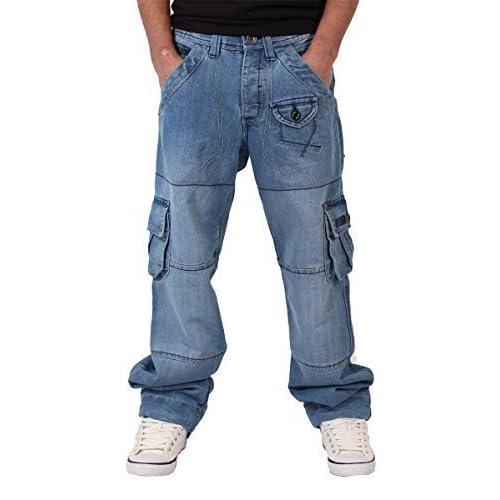 6059c381 Peviani Mens Cargo Combat Denim Jeans