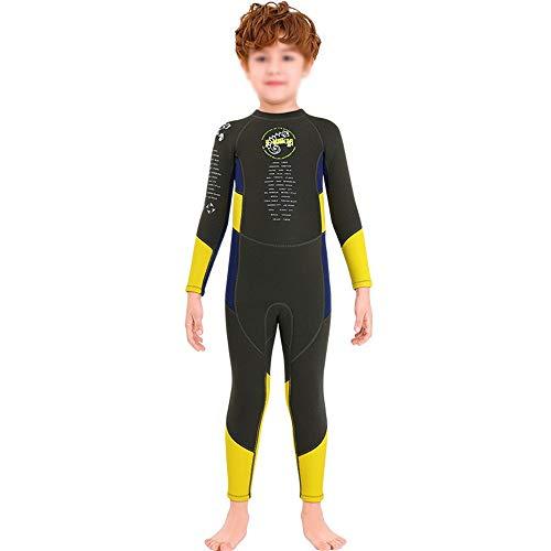 HO-TBO Kinder Duikpak, Kinder Warm Badpak 2.5MM Eendelig Wetsuit Heren Lange Mouw Koude Snorkeling Surf Jellyfish Kleding Voor Kinderen Ideaal voor Duiken Beginners