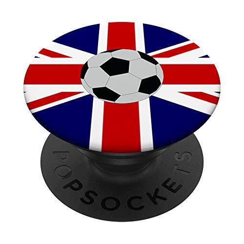 Gráfico de fútbol de bandera del Reino Unido / Fútbol de PopSockets PopGrip: Agarre intercambiable para Teléfonos y Tabletas