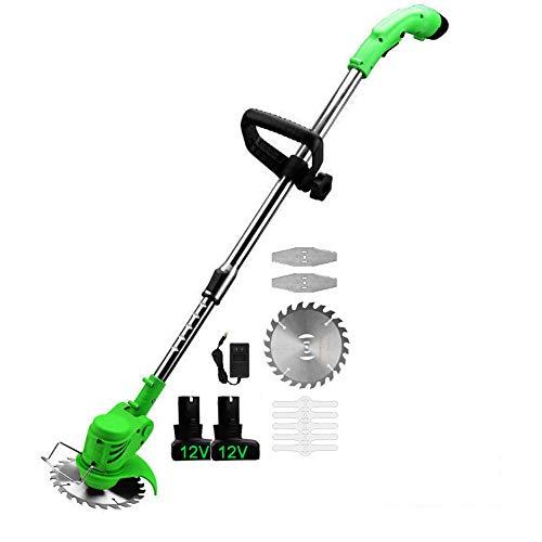 Onefire Cortabordes eléctrica para el hogar desbrozadora electrica de Liviana con baterías de Iones de Litio de 2 * 9Ah y Cargador rápido Cuchilla de Metal para Recortar el Cultivo de arbustos