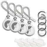 4 Stück W2C Schutzhülle / Schlüsselanhänger 4er Set für Apple AirTag 4er Pack: Hülle / Anhänger + Band / Schlaufe + Karabiner + Schutzfolie (Weiß)