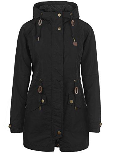 Desires Sakura Parka De Entretiempo Abrigo Chaqueta para Mujer con Capucha, tamaño:XS, Color:Black (9000)