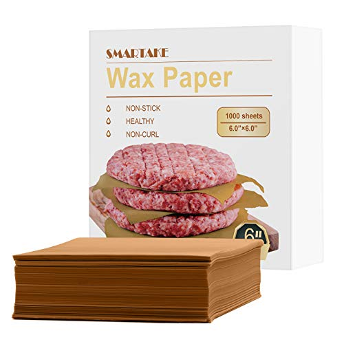 SMARTAKE 6 × 6 Inches Wax Paper, 1000 Pcs Non-Stick Hamburger Patty Paper, Square Sandwich Separators Wrap Paper, for Lunch, Restaurants, Barbecues, Picnics, Parties, Barbecue, Unbleached