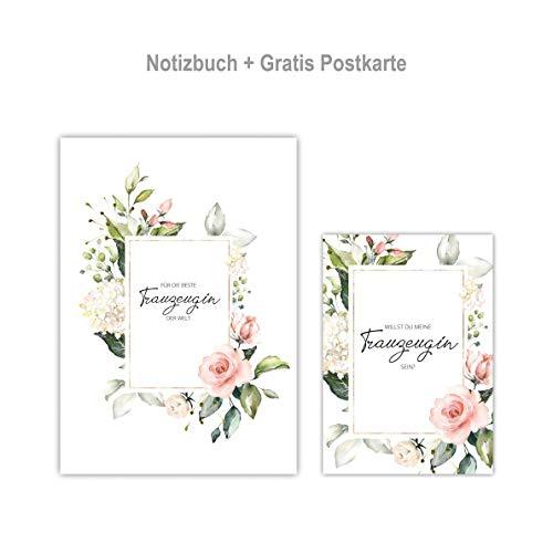 Trauzeugin Planer Weltbeste GRATIS Postkarte Hochzeit Notizheft Blütentraum