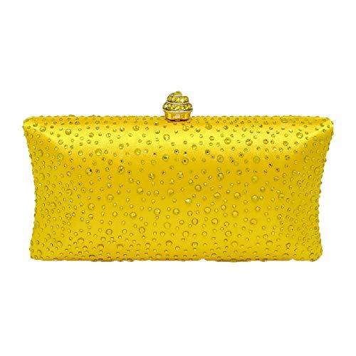 BESTWALED Bolsa de Mano Para Fiesta de Noche De Las Mujeres Bolso De Embrague Boda Maquillaje Bolsas Banquete Damas Clutch Fiesta Diamante de seda Amarillo