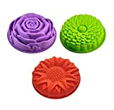 Efivs Arts 3 Pack Non-Stick Flower Shape Silicone Cake Pans Bread Pie Flan Tart Jello Molds for Birthday Party