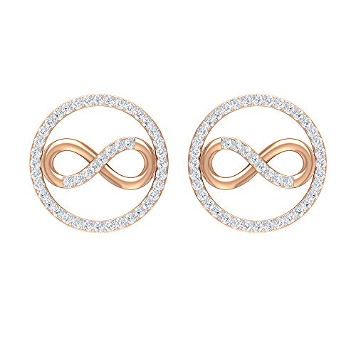 1/4 CT HI-SI Diamond Stud Earrings, Infinity Earrings for Women, Gold Open Circle Earrings, 14K Rose Gold, Pair
