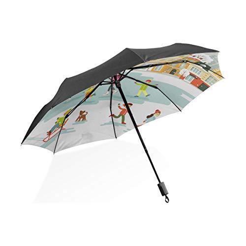 Paraguas Grande Niños Personas Patinando en la Pista de Hielo Paraguas Plegable Compacto portátil Protección contra Rayos UV A Prueba de Viento Viajes al Aire Libre Mujeres XL Paraguas de Golf A Prue