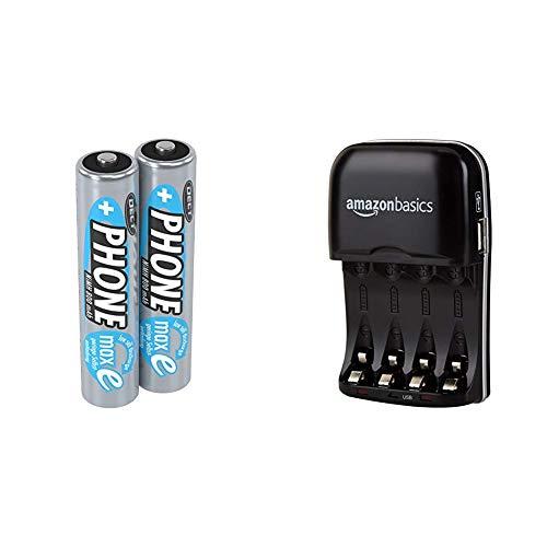 ANSMANN Akku AAA Micro 800 mAh 1,2V NiMH für Schnurlostelefon 2 Stück - Wiederaufladbare Batterien mit geringer Selbstentladung maxE - Rechargeable Battery & Amazon Basics Batterieladegerät