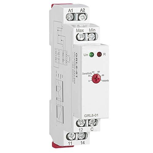 Nrpfell Controlador de Nivel de Agua GRL8 Relé de LíQuido 10A CA CC 24 V 220 V Relé de Bomba de Agua de Voltaje de Amplio Rango, GRL8-01