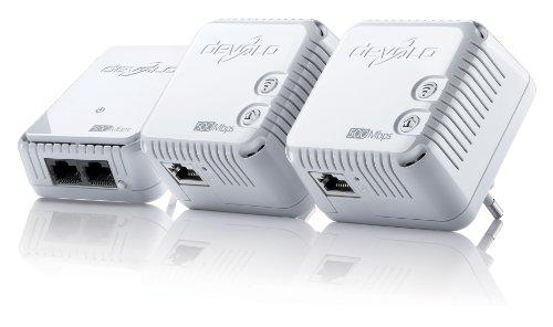 devolo dLAN 500 WiFi Network Kit Powerline (Internet über die Steckdose, WLAN, 1x LAN Port, 3x Powerlan Adapter, WLAN Adapter, WLAN Booster, WiFi Move) weiß