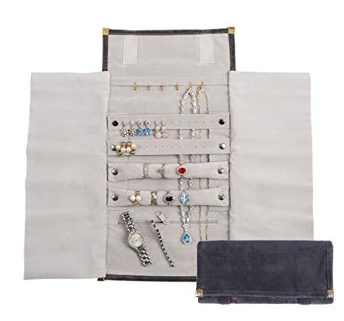 YHY - Bolsa organizadora de viaje de terciopelo ligero y pequeño para joyas, antideslustre, gran almacenamiento multiusos para collares, pulseras, anillos, perlas, relojes, etc.