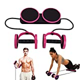 Multi Function Double AB Roller Wheel Exercise Equipment for Home Gym,Abdomen and Arm Workout Equipment Waist Slimming Trainer for man and women (Pink)