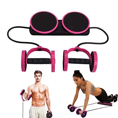 Yonphy Bauchtrainer Roller für Zuhause Zugseil Bauch Doppelrollen Roller Pull Trainer Fitness Übung Bauchtrimmer Armtrainer