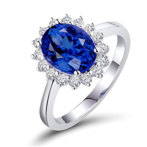 AnazoZ Anillos Mujer Zafiro,Anillo de Compromiso Mujer Oro Blanco 18 Kilates Plata Azul Flor con Oval Zafiro Azul 0.5ct Diamante 0.11ct Talla 20