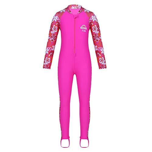 TiaoBug Mädchen Einteiler Badeanzug Ganzkörper-Schwimmanzug mit Sonnenschutz Neoprenanzug geblümt Lange Ärmel Hose mit Steg Rose Rot 110-116/5-6Jahre