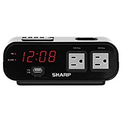 Sharp Digital Alarm Clock with 2X Power Outlets with Surge Protect and Rapid Charge USB Port - Grey Outlets