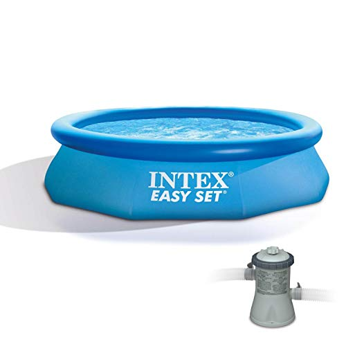 Intex 10ft x 30in Easy Set Above Ground Inflatable Family Swimming Pool & Pump