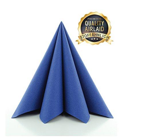 Prime Guest Servietten BLAU | Premium Edition für Hochzeiten und Feiern | aus Prime Guest Airlaid | stoffähnlich | 50er Packung | 50 Stück | 40 x 40 cm | ¼ Falz
