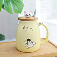ふたとスプーンマグカップコーヒーカップ401-500ml黄色の漫画猫セラミックカップ