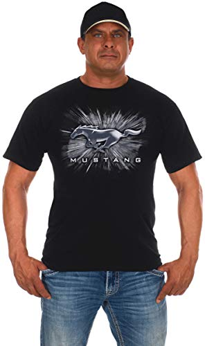 Men's Ford Mustang Short Sleeve Crew Neck T-Shirt Silver Burst Design (Large,...