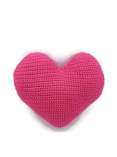 Rosa fucsia corazón cojín decoración dormitorio infantil cuna recién nacido suave ganchillo felpa